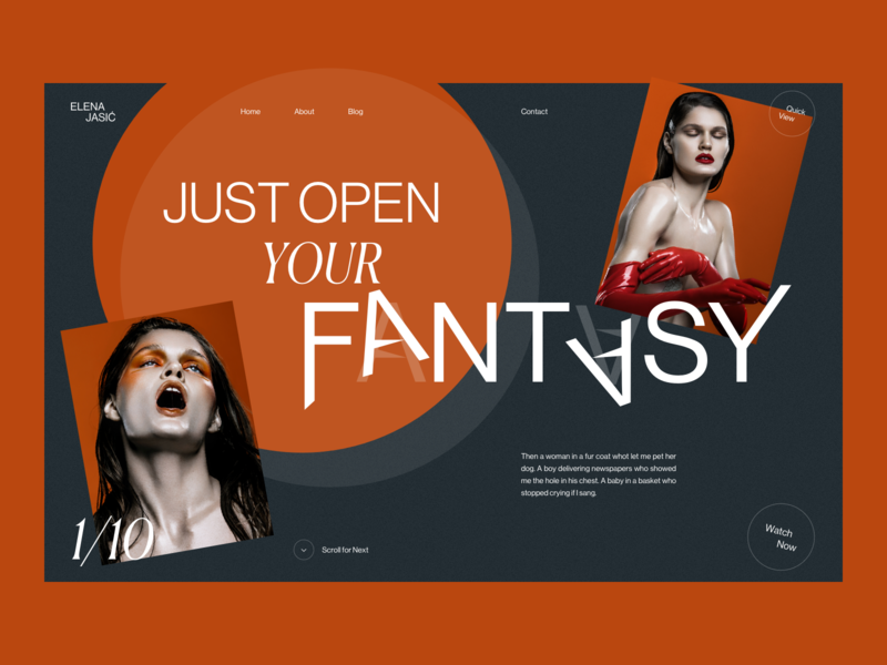 Elena Jasić - First Look fashion girl woman interaction grid typography website design sketch creative webdesign interface clean web ux ui portfolio folio photograph photo