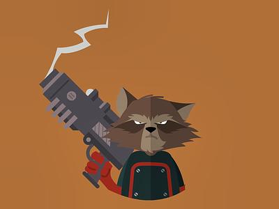 Rocket Raccoon raccoon guardiansofthegalaxy vectorart vector flatdesign flat