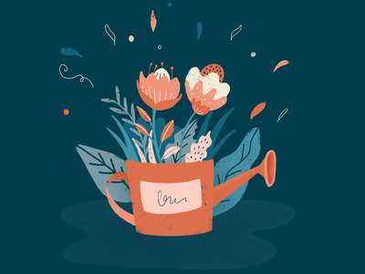 Watering Can procreate flowers illustration watering can