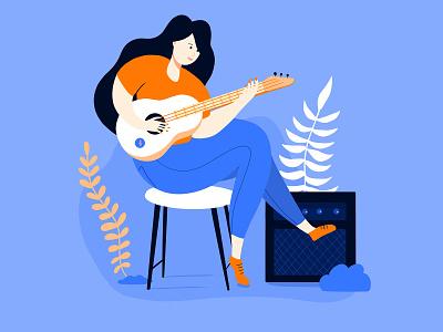 Musician Girl instrument guitar music musician character flat design illustration