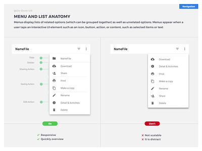 Do Don't UX - Menu and list Anatomy e-shop list view folder files download details divider saving edit action action menu name file name file best practices card option menubar menu list