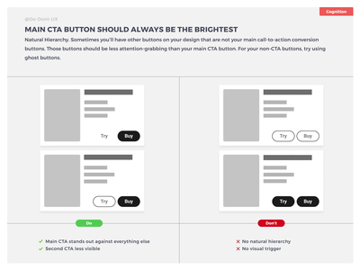 Do Don't UX - Main CTA button should always be the brightest best practice ecommerce design coupon reduction estate education shopping retail cta cart offer event trigger button seller sell product e-sport e-shop ecommerce