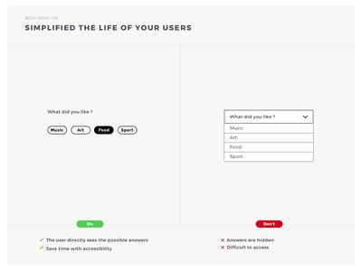 Do Don't UX - Simplified The Life Of Your Users categories category filter choice free design template design template label design label ux do dont formulaire form question form field form elements field guide best practice form builder field ux process