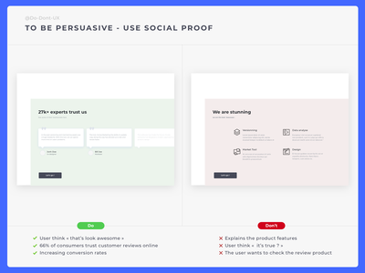 Do Don't UX - Social Proof e-shop ecommerce previous research implicit egotism halo effect authority rules customer influencer marketing influence trust data proof data note advise comment social proof social profile social best practice ux process