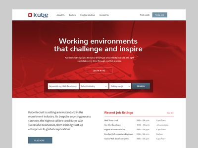Kube Recruit search bar homepage recruit
