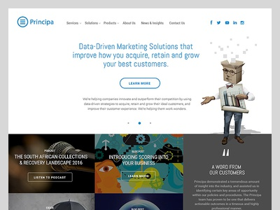 Principa homepage redesign v2 business white homepage corporate