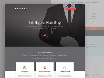 Benson's public facing site design website software homepage management tool hotel pms benson