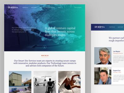 Enigma-Alliance corporate site design homepage landing page venture capital ux ui website