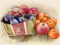 Plums, apples and tangerines. Illustration.