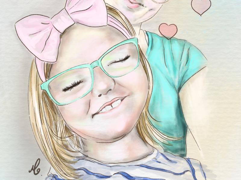 Illustration of mother and daughter. digital artist digital art digital drawing digital painting ipadpro procreate illustration