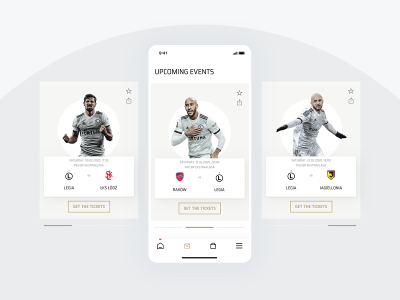 Legia Warsaw Mobile App - Events Screen calendar events design user experience user interface football soccer sports interaction mobile ui ux app