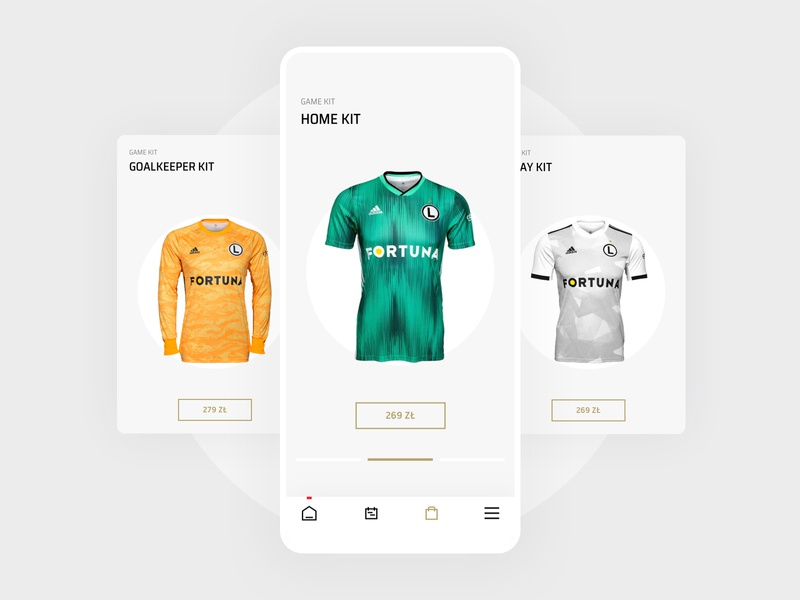 Legia Warsaw Mobile App - Product Cards user experience user interface warsaw soccer sports products shop ecommerce sketch interaction mobile ux ui app