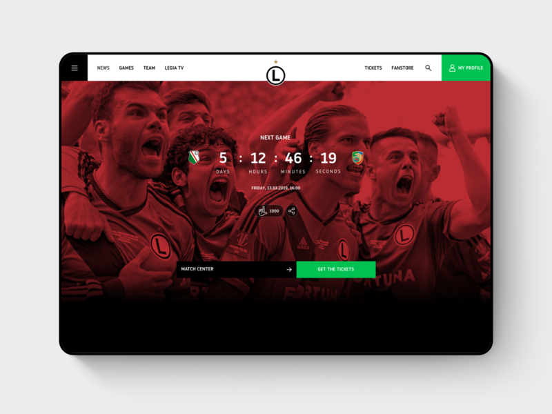 Legia Warsaw Website - Pre-game Counter website warsaw webdesign user interface user experience ux ui sports football soccer sketch match interaction counter countdown