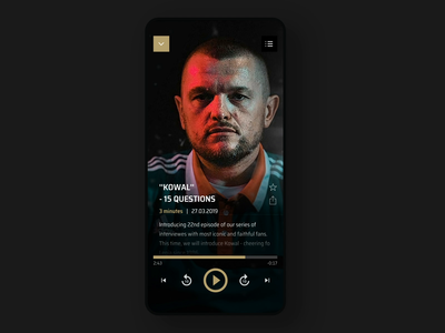 Legia Warsaw Mobile App - Podcast Player legia warsaw dark video podcasts aftereffects parallax animation player podcast football sports soccer user interface user experience interaction mobile app ux ui