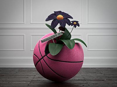 Hello Dribbble Ball debut basketball 3d shot welcome ball dribbble