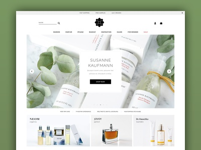 Beauty E-Commerce Multibrand Store green homepage storefront flat thinkideas e-commerce store cosmetic shop beauty