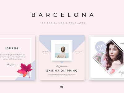 Barcelona - 100 Social Media Design Pack minimal simple photoshop ui template web social media social design blue instagram pink