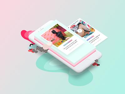 Color & Shape Mood Board for SKIN WordPress Theme interactive creative website ui ux mobile mint gradient uxdesign uidesign web design pink
