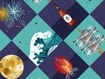St. John's Night blue summer nights night verano illustrator illustration summer cerveza turia turia