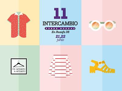 Exchange Clothes Poster valencia pastel flat design flat illustration outfit ropa intercambio moda fashion clothes exchange