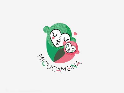 Micucamona logo logotype shop love green pink monkey ape kids toddler baby child logo