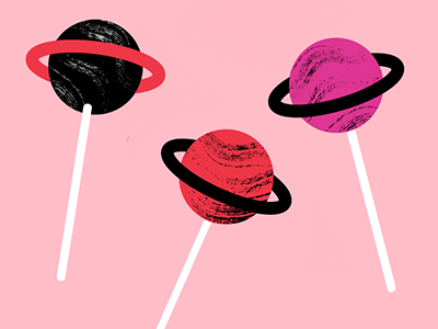 Universally Sweet lollipop sweets mars planetary planets pink candy sweet illustration