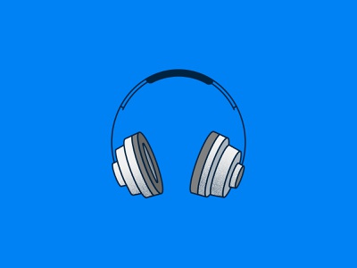 WFH Essential Tech: Headphones listening music technology concept spot illustration icon illustration vector