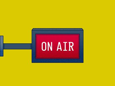 WFH Essential Tech: On Air recording broadcast radio concept spot illustration icon illustration vector