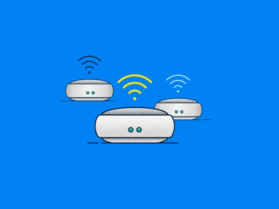 WFH Essential Tech: Wifi mesh wireless internet router spot illustration icon illustration vector