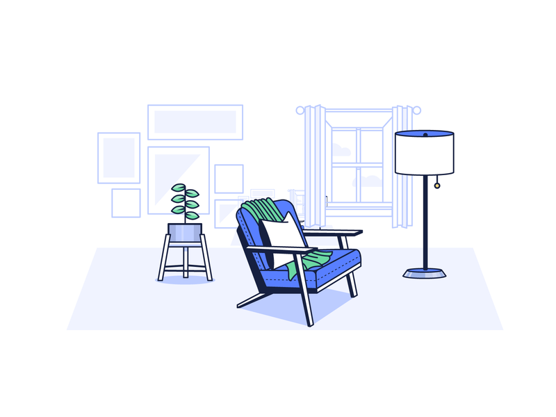 living room plant lamp chair living room food concept spot illustration icon illustration vector