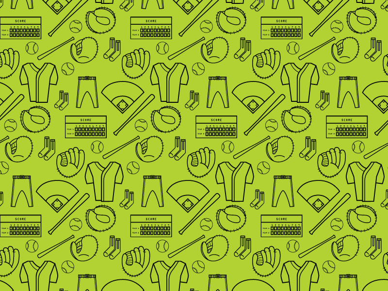 Baseball Pattern freebie sports illustration pattern vector postseason october icon glove baseball bat score