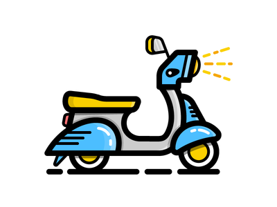 Scooter drive motor vehicle ride vespa scooter daily challenge illustration icon vector