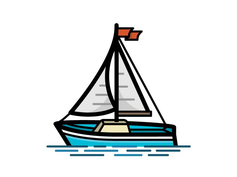 Sailboat float sailing sea ocean water sailboat boat sail nautical illustration icon vector