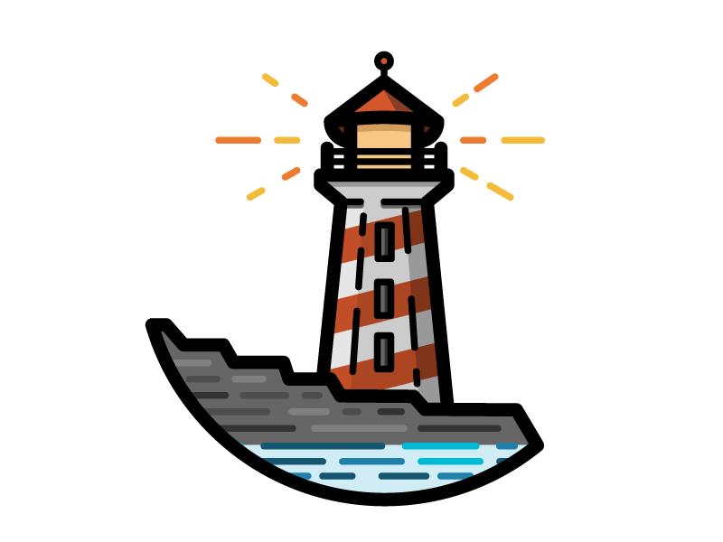 Lighthouse coast water house light lighthouse ocean nautical sea illustration icon vector