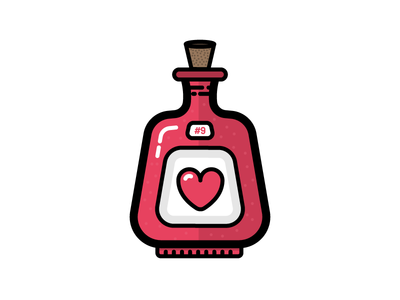 Love Potion chemistry romance holiday valentines day 9 potion love flat illustration icon vector