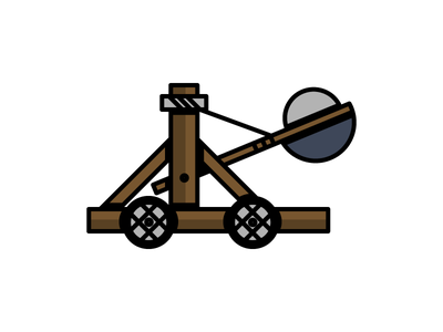 Catapult daily challenge launch shot medieval catapult illustration icon vector