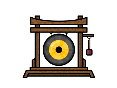Gong clash music loud cymbal gong asian percussion wood illustration icon vector