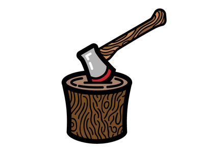 Hatchet axe hatchet chop wood logs fire explore outdoors camping illustration icon vector