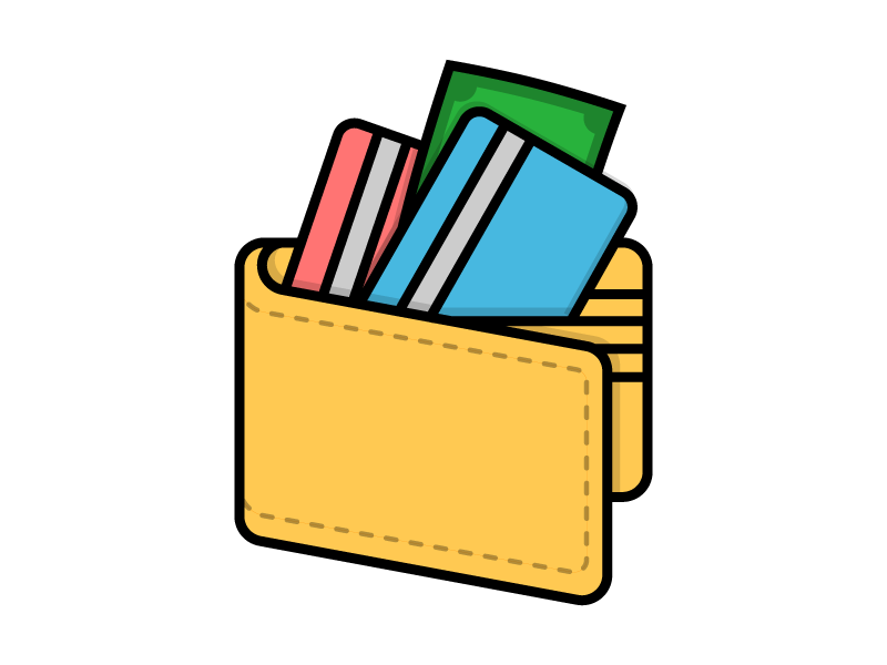 Wallet debit card credit money finance illustration icon vector