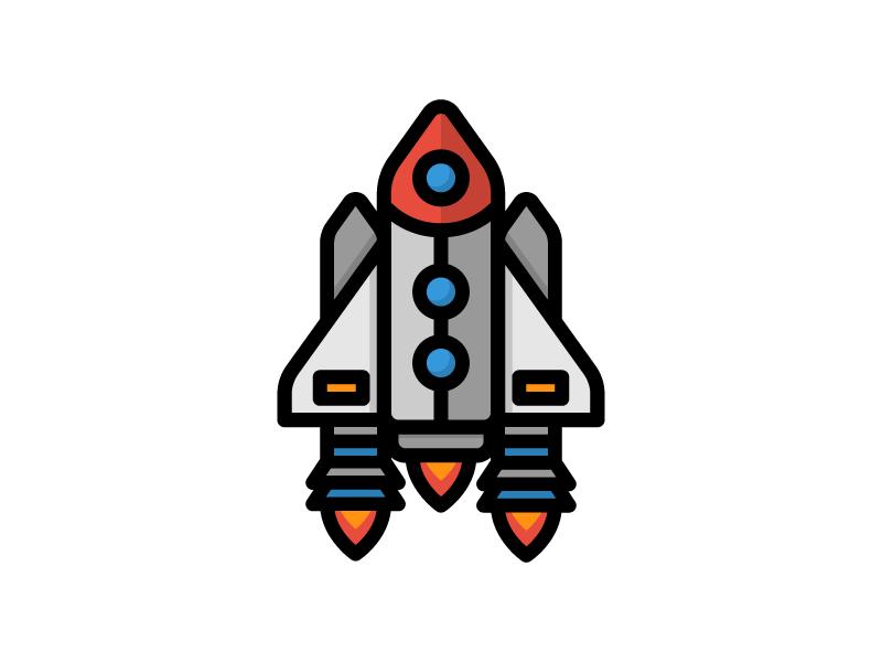 Rocketship launch shuttle rocket universe nasa galaxy conquer space rocketship illustration icon vector