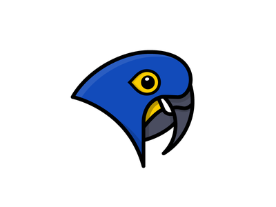 Hyacinth Macaw zoo aviary fly wings exotic blue colorful macaw bird illustration icon vector