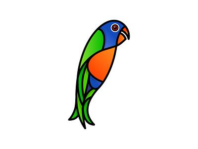 Lorikeet zoo aviary fly wings exotic colorful lorikeet bird illustration icon vector