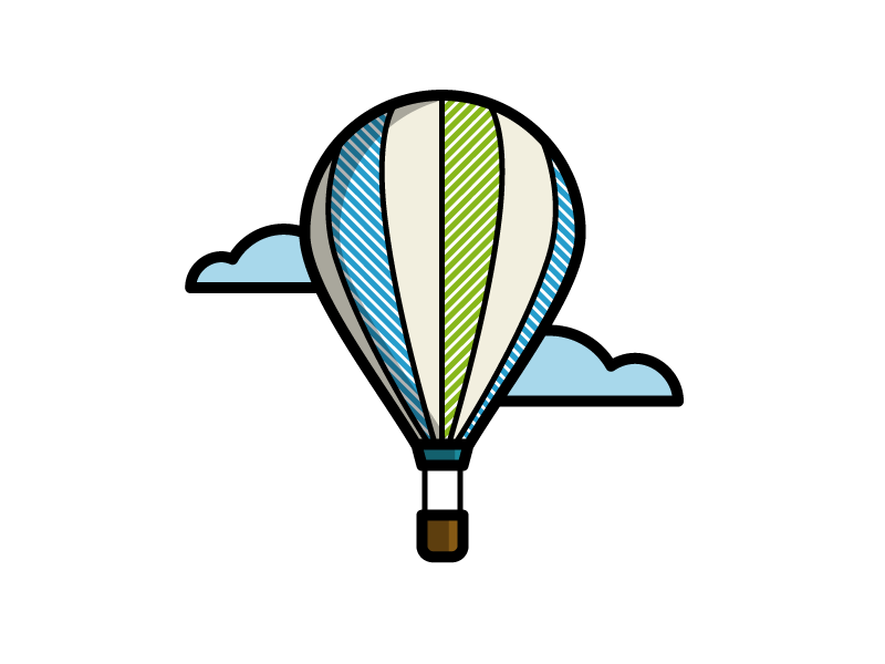 Hot Air Balloon basket air float transportation cloud hot air balloon balloon illustration icon vector