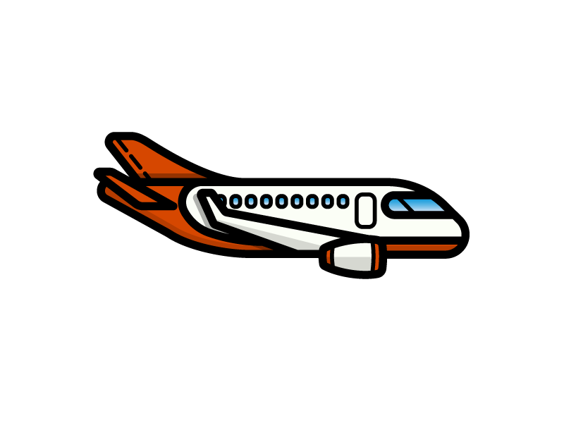Airplane airport airline takeoff air travel airplane plane transportation illustration icon vector