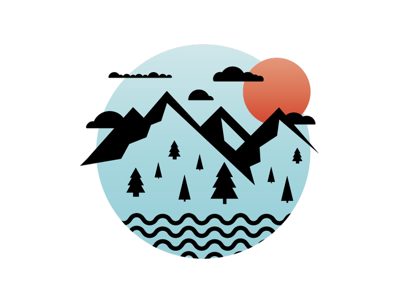 Mountains spot illustration clouds water trees outside outdoors mountain illustration icon vector