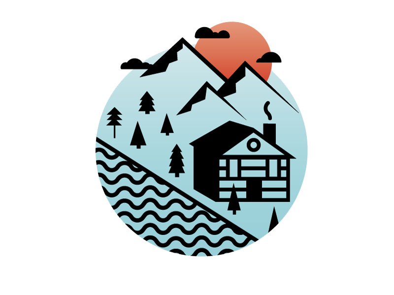 Log Cabin spot illustration trees water mountains wood sunset travel outdoors illustration icon vector