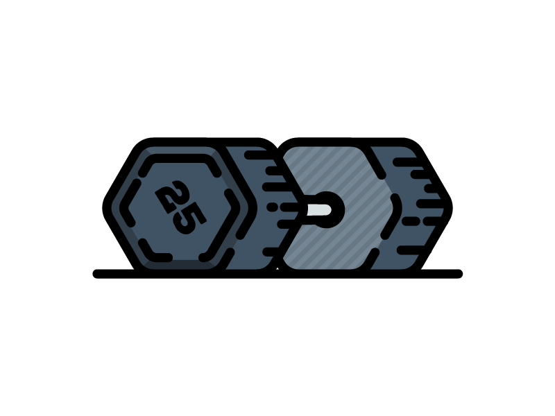 Dumbbell weightlifting gym lift weight room weights sports illustration icon vector