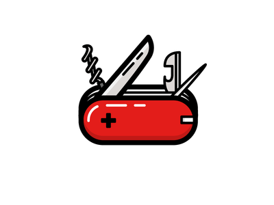 Swiss Army Knife outline pocket switzerland swiss army knife cut blade knife illustration icon vector