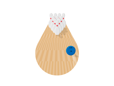 Bowling ball pins strike bowl sports spot illustration bowling illustration icon vector