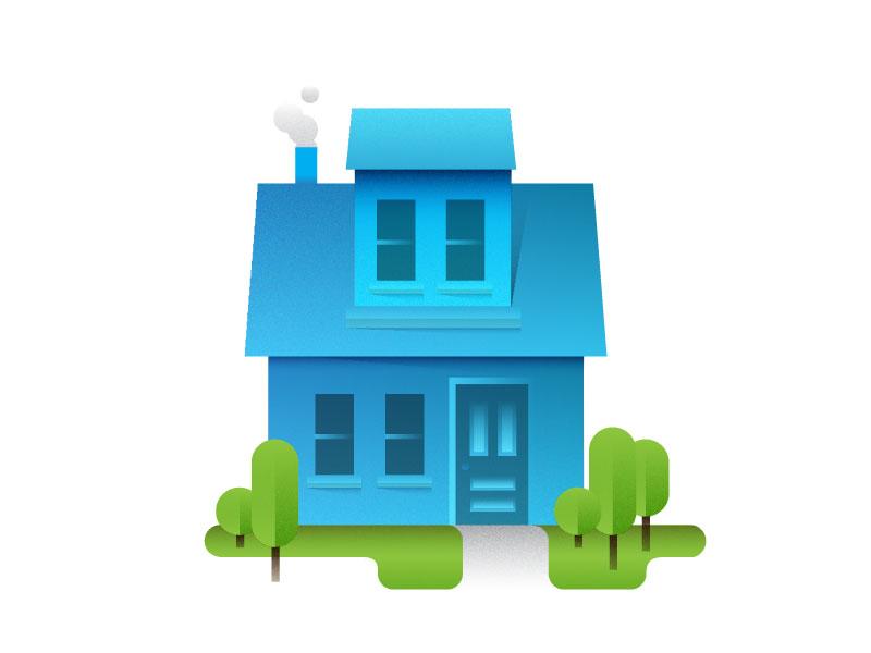 House neighborhood residence chimney home house gradient illustration icon vector